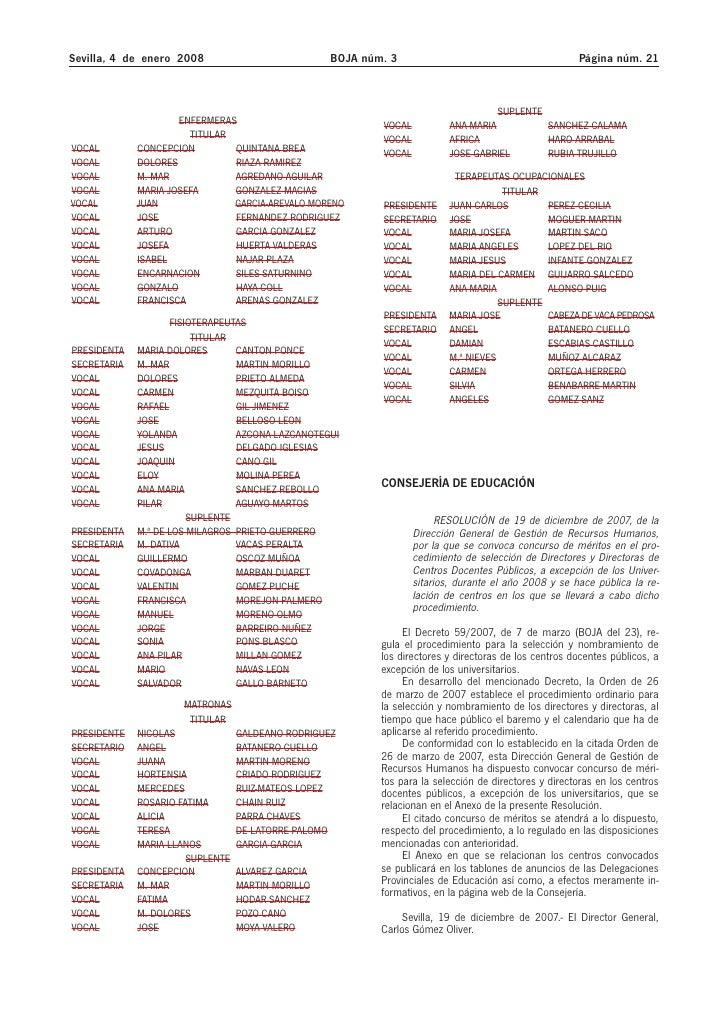 Sevilla, 4 de enero 2008                           BOJA núm. 3                                         Página núm. 21     ...