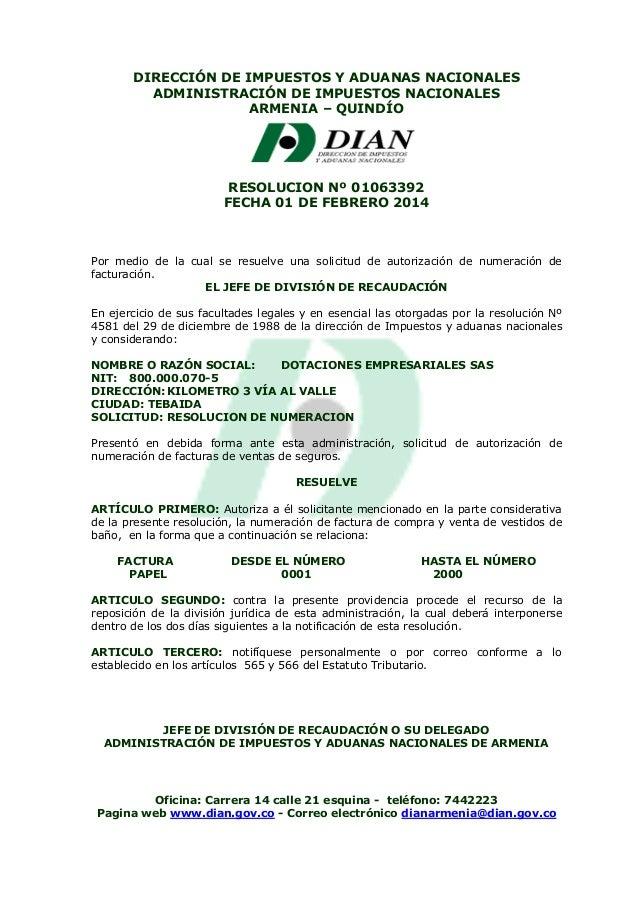 Resolucion de autorizacion dian