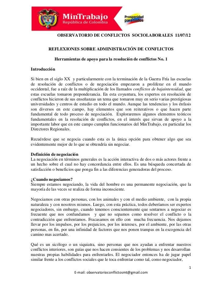 OBSERVATORIO DE CONFLICTOS SOCIOLABORALES 11/07/12          REFLEXIONES SOBRE ADMINISTRACIÓN DE CONFLICTOS             Her...
