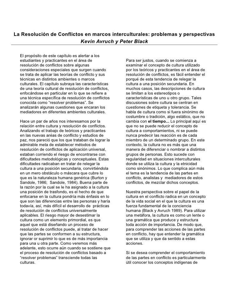 La Resolución de Conflictos en marcos interculturales: problemas y perspectivas                           Kevin Avruch y P...