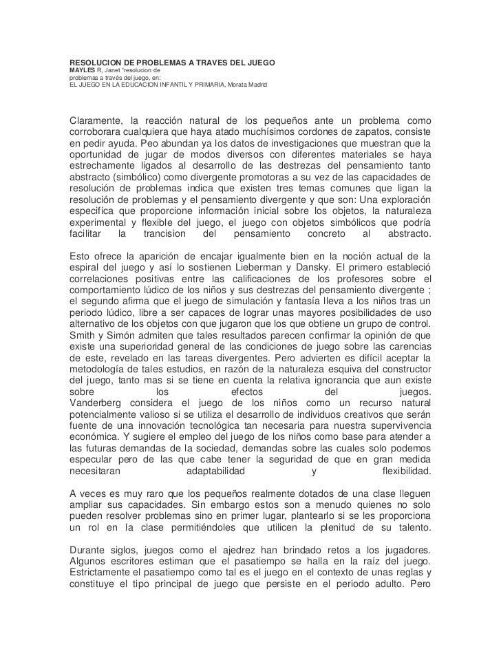 """RESOLUCION DE PROBLEMAS A TRAVES DEL JUEGOMAYLES R, Janet """"resolucion deproblemas a través del juego, en:EL JUEGO EN LA ED..."""