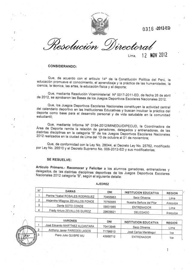 Resolucion Directoral de Felicitación de campeones nacionales cat B 2012