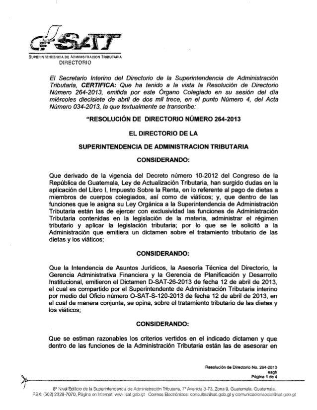 Resolucion directorio sat 264 2013