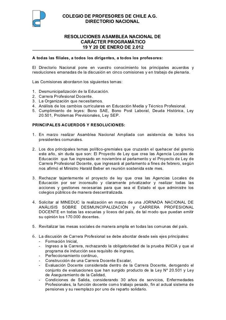 Resoluciones asamblea 19.01.2012