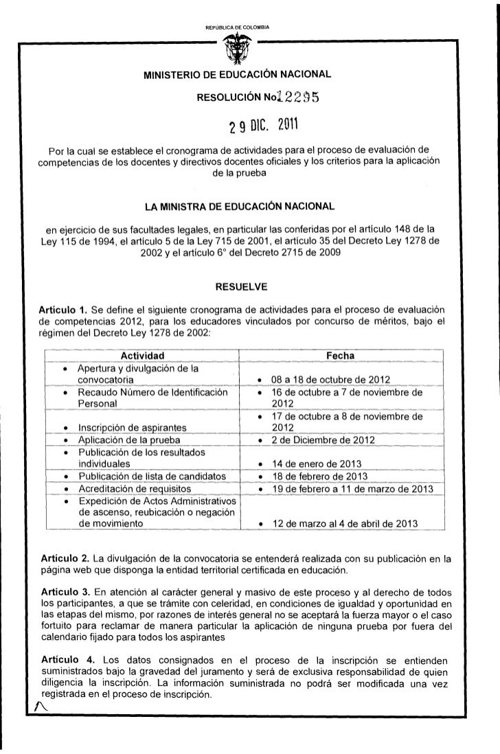 Resolucion evaluac competenc 2012