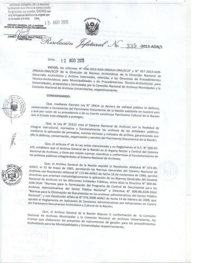 Resolucion Jefatural Nro-339-2013-AGN/J