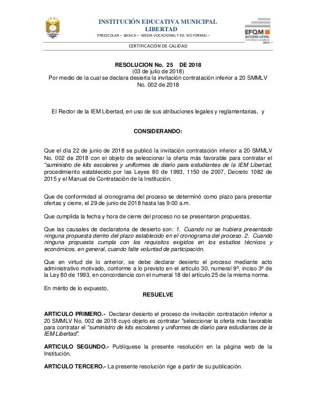 INSTITUCIÓN EDUCATIVA MUNICIPAL LIBERTAD PREESCOLAR – BASICA –- MEDIA VOCACIONAL Y ED. NO FORMAL – CERTIFICACIÒN DE CALIDA...