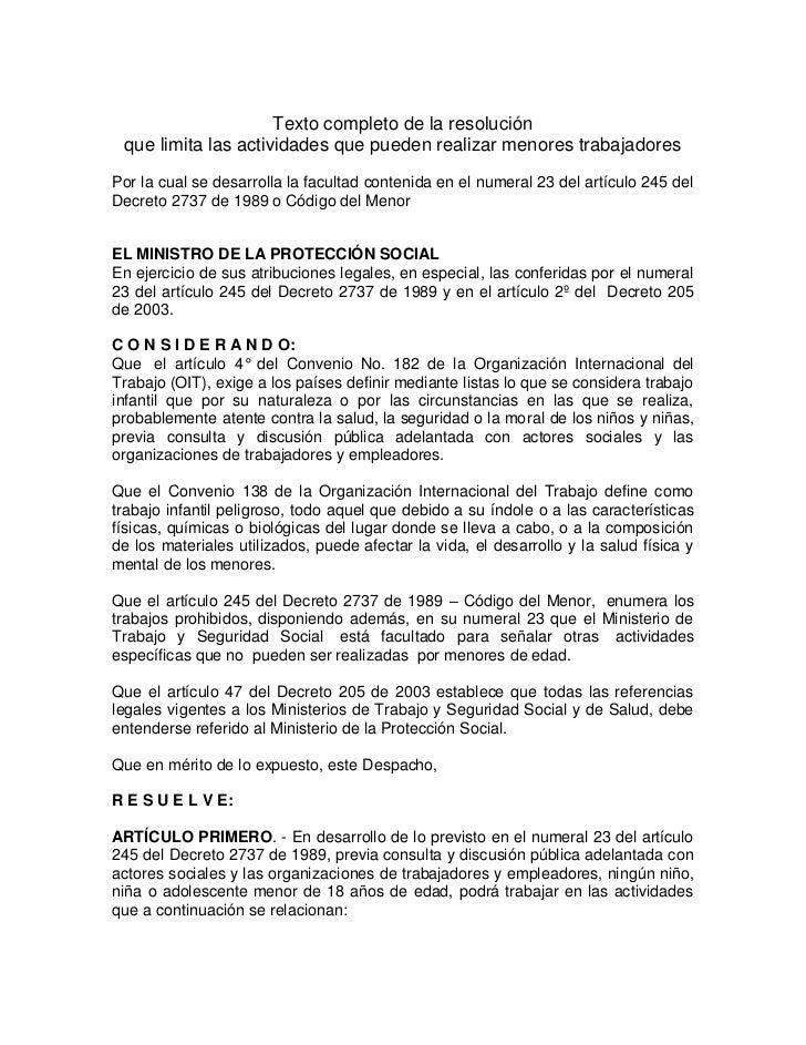 Texto completo de la resolución que limita las actividades que pueden realizar menores trabajadoresPor la cual se desarrol...