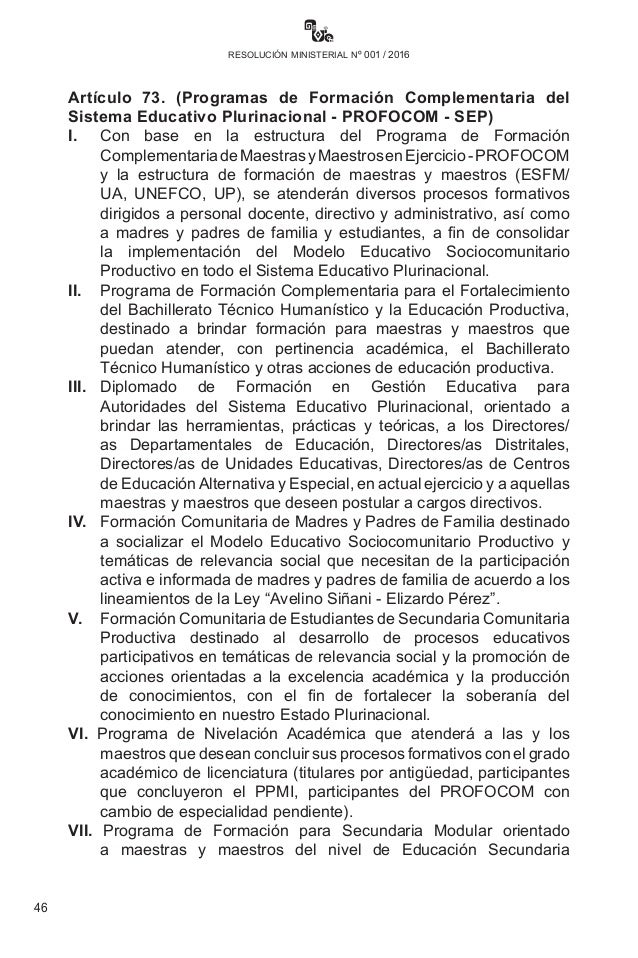 Resolucion ministerial n 001 2016 for Resolucion docentes 2016