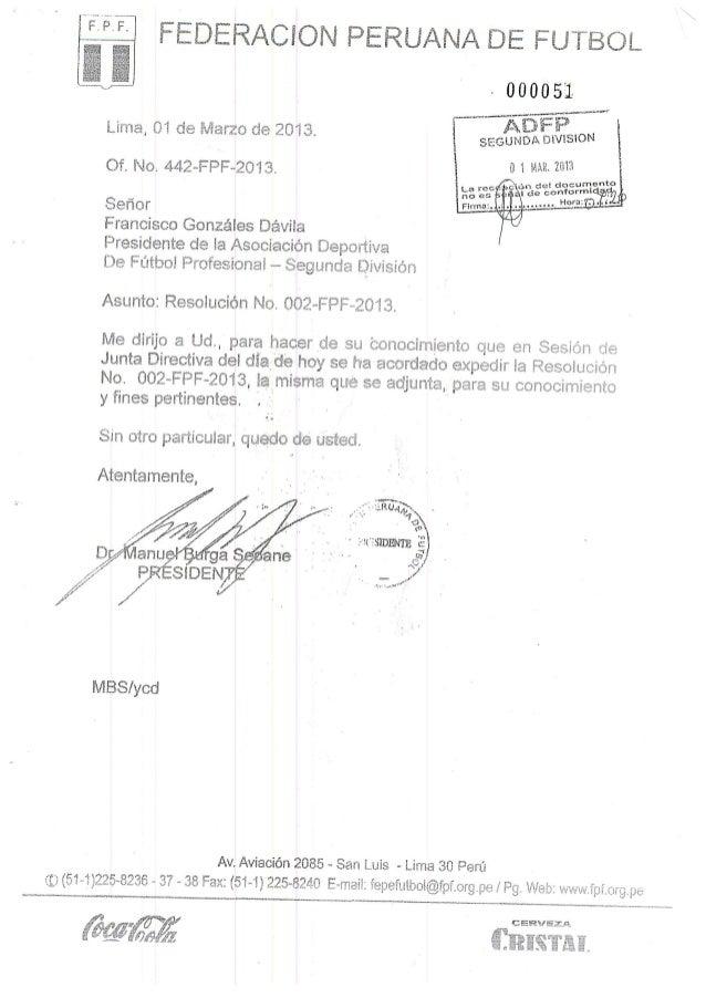 Resolucion n°002 fpf-2013
