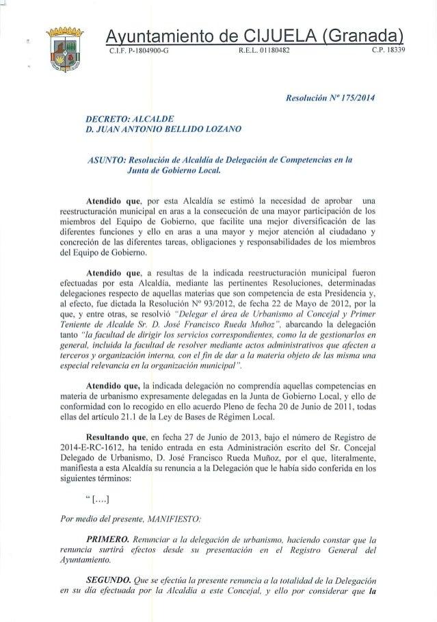 """Ayuntamiento de CIJUELA (Granada)  C. l.F.  P-1804900-G R. E.L.  Ol 180482 C. P. 18339     Resolución N"""" I 75/2014  DECRET..."""