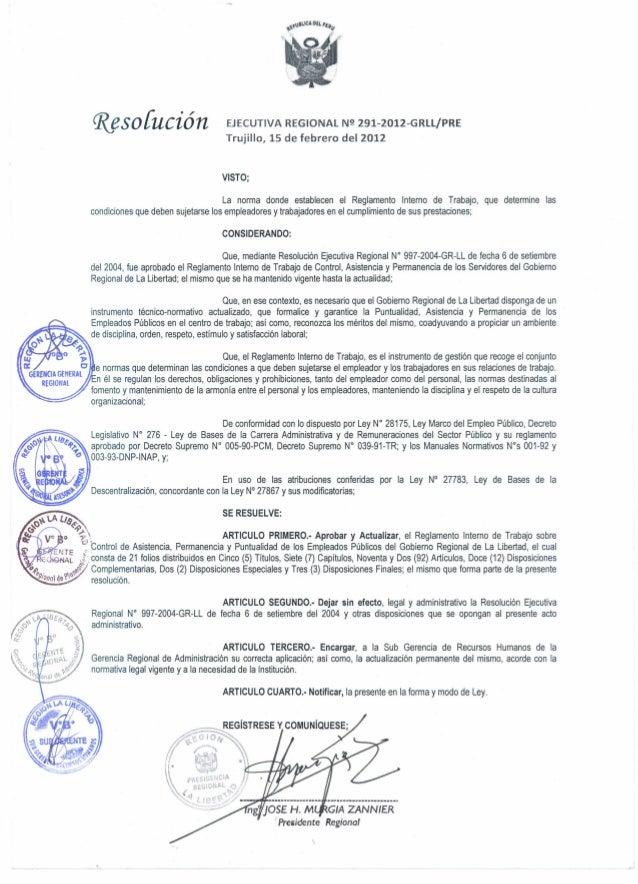 Reglamento Interno de Trabajo La Libertad 2012