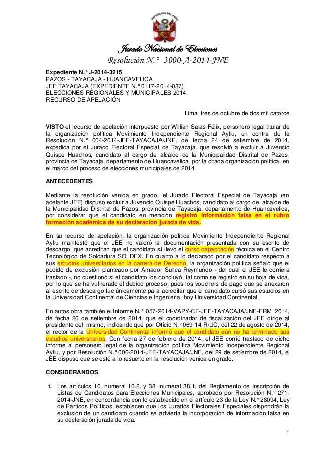 Jurado Nacional de Elecciones  Resolución N.° 3000-A-2014-JNE  1  Expediente N.° J-2014-3215 PAZOS - TAYACAJA - HUANCAVELI...