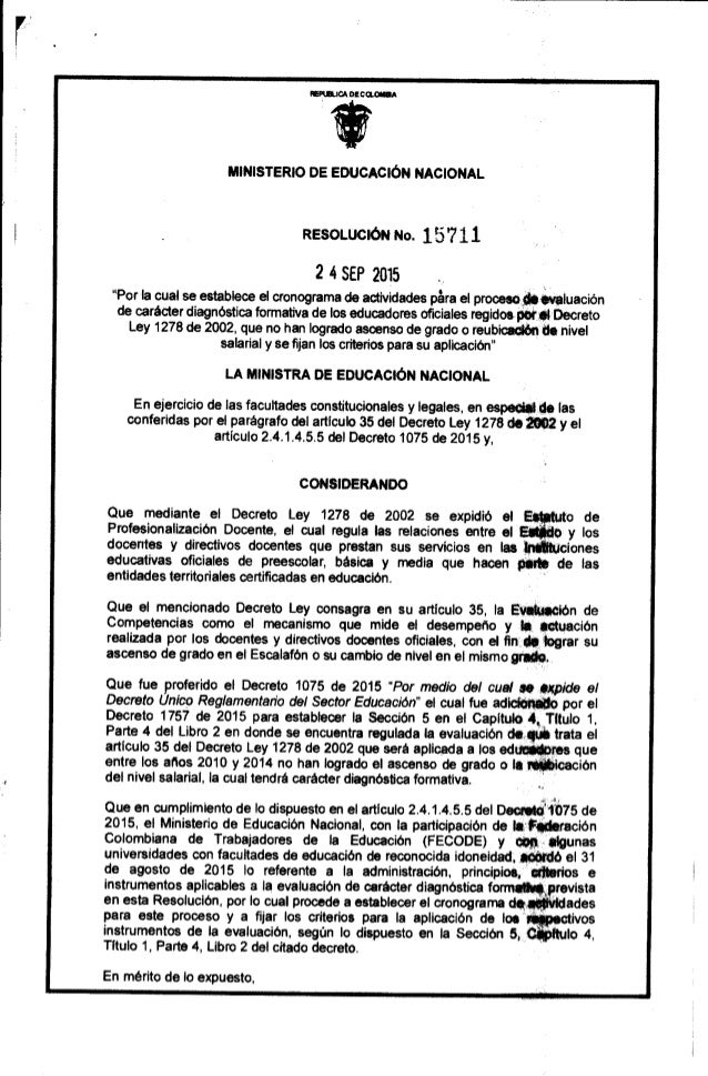 Resolucion no.15711 del 2492015 proceso de evaluacion