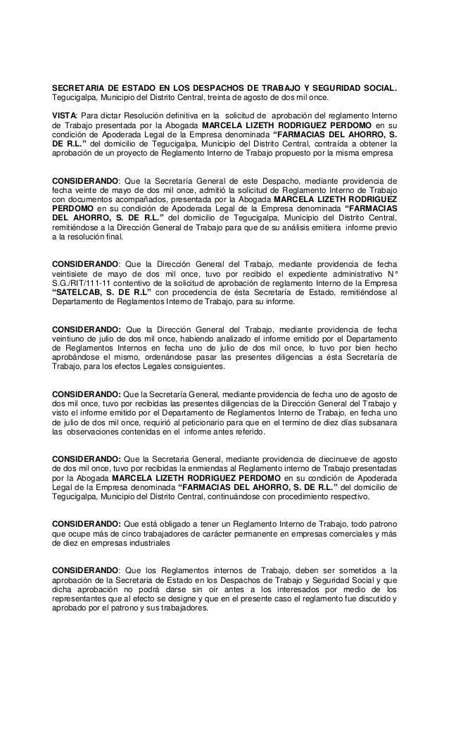 Resolucion reglamento interno de trabajo de la empresa
