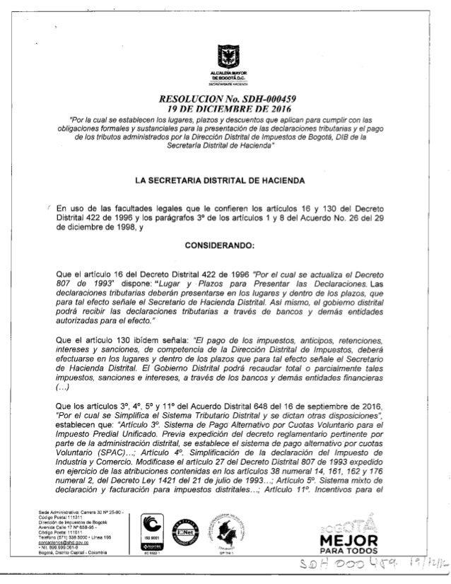 Resolucion sdh 459_del_19_de_diciembre_de_2016_lugares_plazos_y_descuentos_tributarios_2017