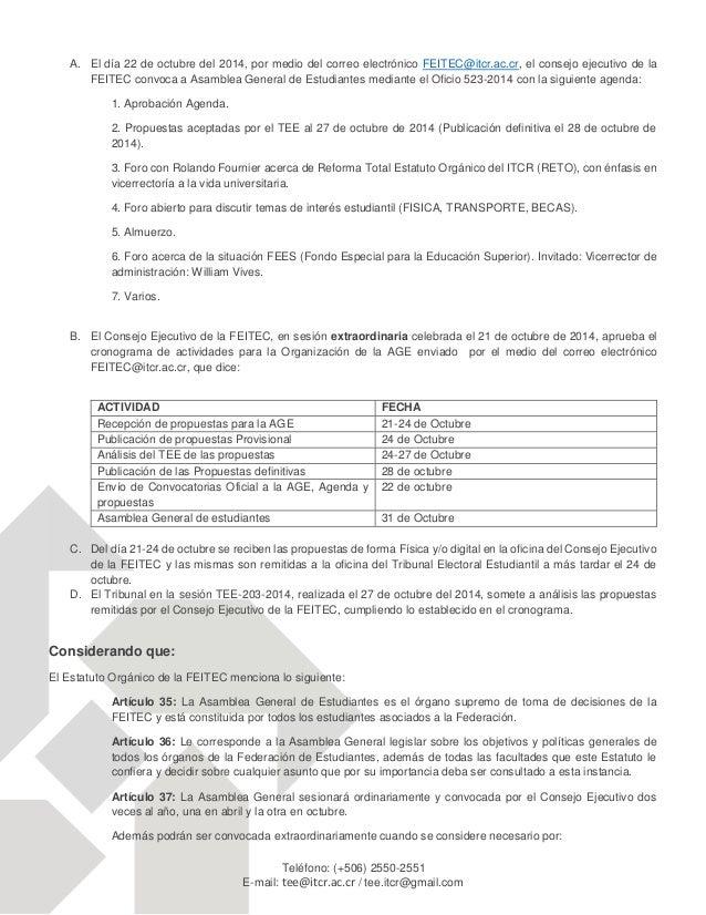 FEITEC-CRITERIO DEL TEE RESPECTO A LAS PROPUESTAS  PRESENTADAS PARA LA AGE EXTRAORDINARIA OCT-2014 Slide 2
