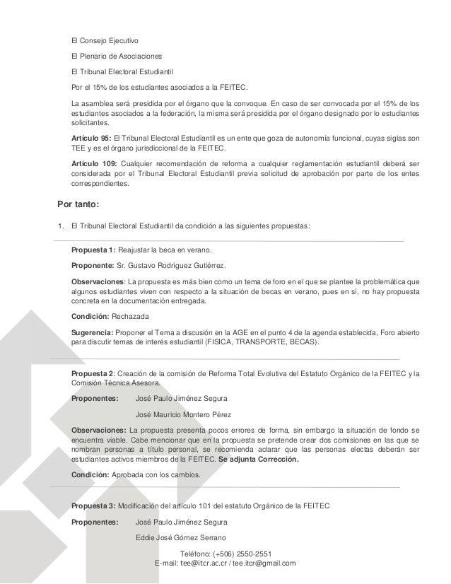 FEITEC-CRITERIO DEL TEE RESPECTO A LAS PROPUESTAS  PRESENTADAS PARA LA AGE EXTRAORDINARIA OCT-2014 Slide 3