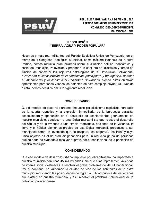 REPÚBLICA BOLIVARIANA DE VENEZUELAPARTIDO SOCIALISTA UNIDO DE VENEZUELACONGRESO IDEOLÓGICO MUNICIPALPALAVECINO. LARARESOLU...