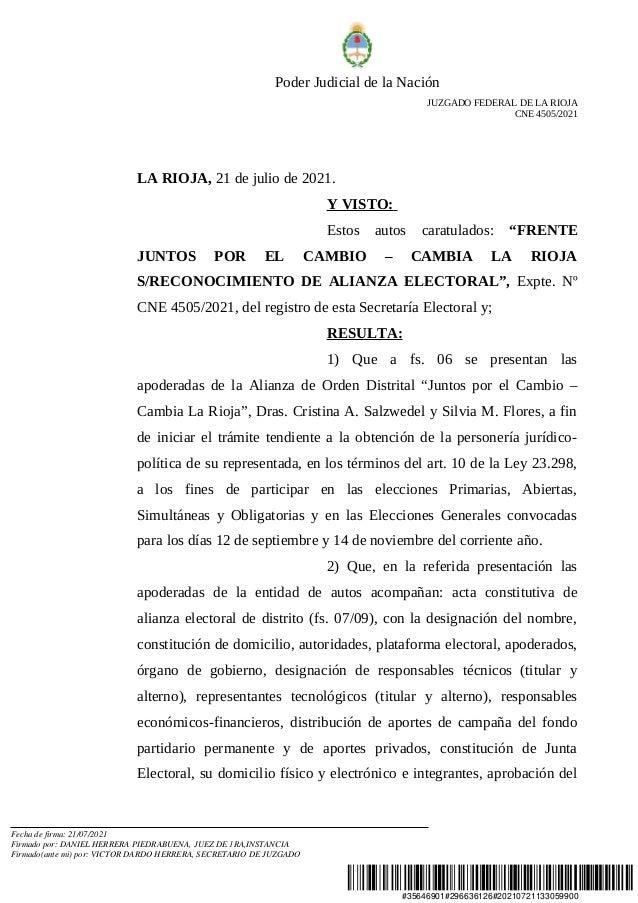 #35646901#296636126#20210721133059900 Poder Judicial de la Nación JUZGADO FEDERAL DE LA RIOJA CNE 4505/2021 LA RIOJA, 21 d...