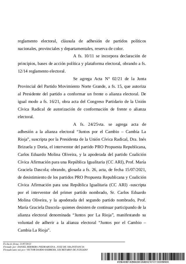 Resolución de la Justicia Federal por Juntos por La Rioja Slide 2