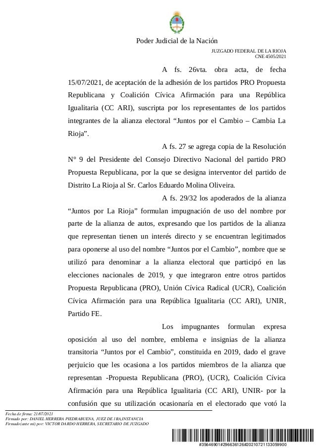 Resolución de la Justicia Federal por Juntos por La Rioja Slide 3
