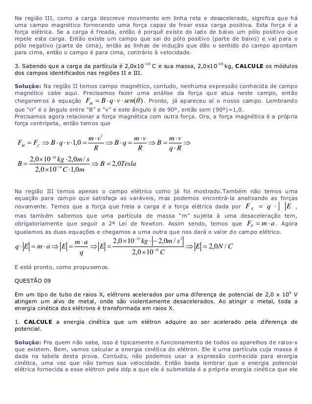 """adquire. Esta energia potencial elétrica é dada pela expressão VeEP ⋅= , onde """"e"""" é a carga elementar do elétron dada na t..."""