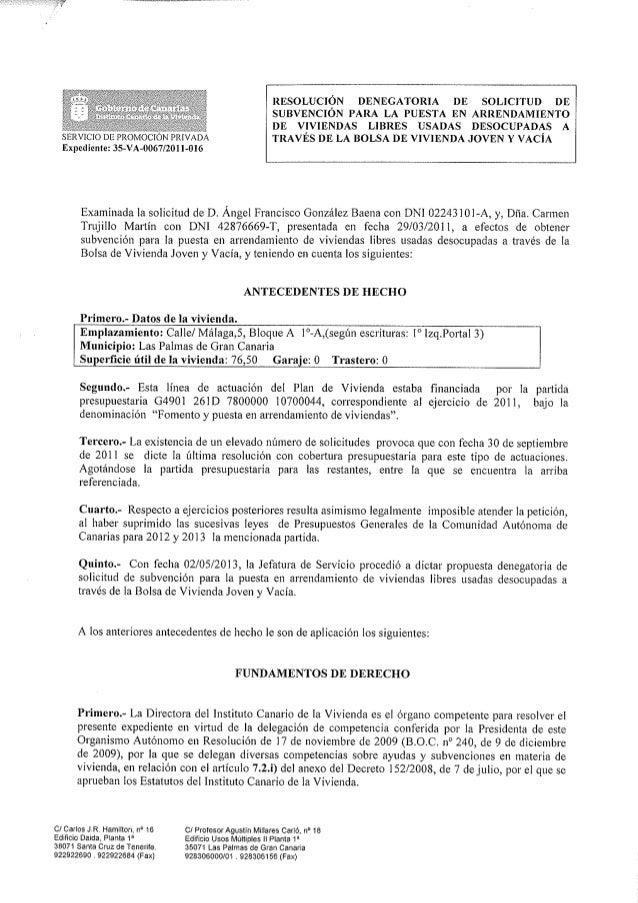 Resolucíon denegación subvención 052013
