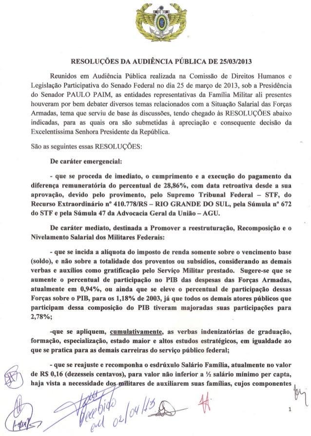 RESOLUÇÕES DA AUDIÊNCIA PÚBLICA DE 25/03/2013      Reunidos em Audiência Pública realizada na Comissão de Direitos Humanos...