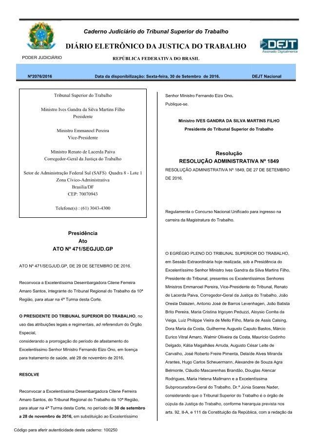 RESOLUÇÃO ADMINISTRATIVA DO TST Nº 1849, DE 27 DE SETEMBRO DE 2016