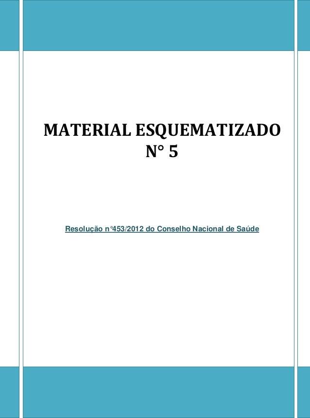 MATERIAL ESQUEMATIZADO N° 5  Resolução n°453/2012 do Conselho Nacional de Saúde