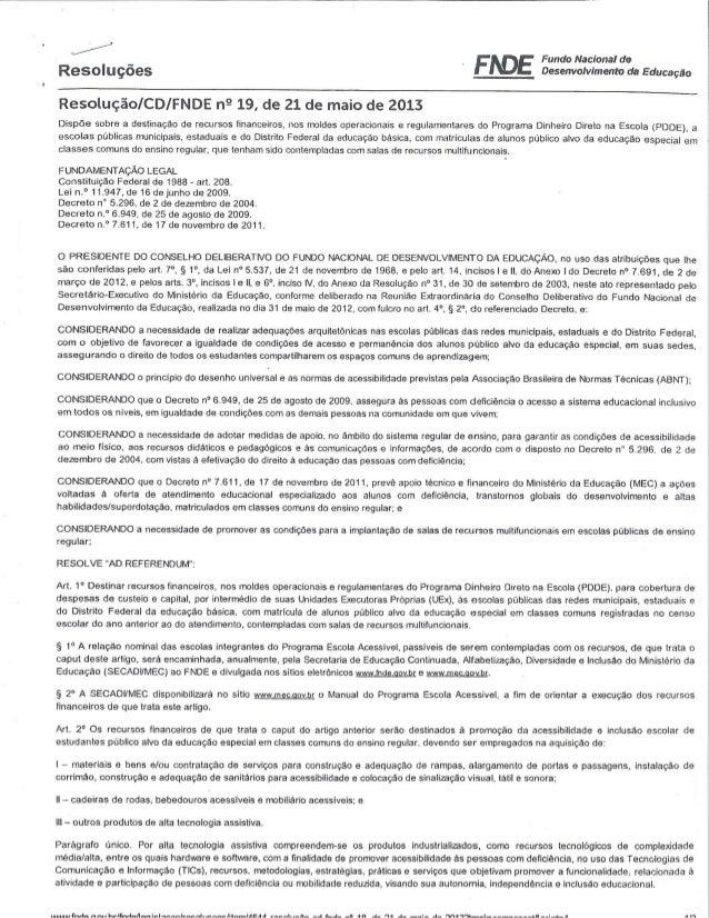 Resolução cd fnde nº 19 de 21 05 2013