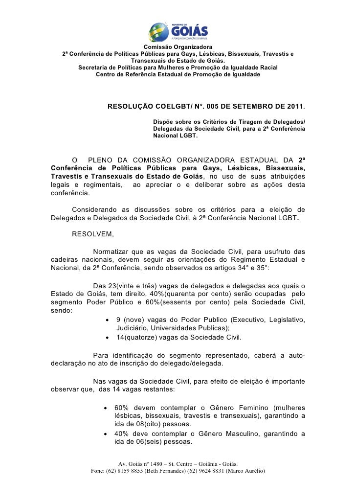Comissão Organizadora   2ª Conferência de Políticas Públicas para Gays, Lésbicas, Bissexuais, Travestis e                 ...
