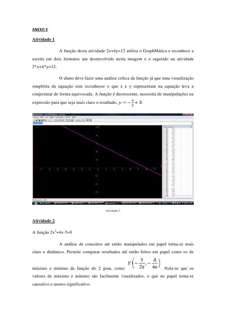 ANEXO 2Atividade 1              A função desta atividade 2x+4y=12 utiliza o GraphMática e reconhece aescrita em dois forma...