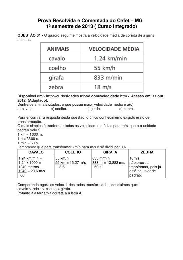 Prova Resolvida e Comentada do Cefet – MG              1º semestre de 2013 ( Curso Integrado)QUESTÃO 31 - O quadro seguint...
