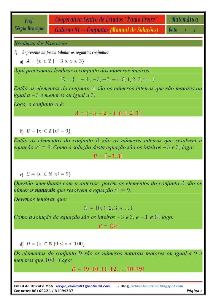 "Prof.             Cooperativa Centro de Estudos ""Paulo Freire""                 Matemática Sérgio Henrique        Caderno 0..."
