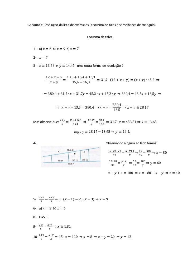 Gabarito e Resolução da lista de exercícios ( teorema de tales e semelhança de triangulo)                                 ...