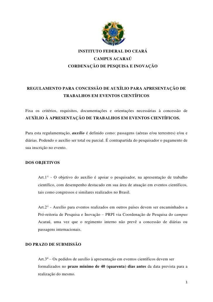 INSTITUTO FEDERAL DO CEARÁ                                       CAMPUS ACARAÚ                           CORDENAÇÃO DE PES...