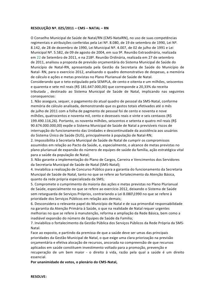 Resolução nº 025 conselho municipal de saude de natal