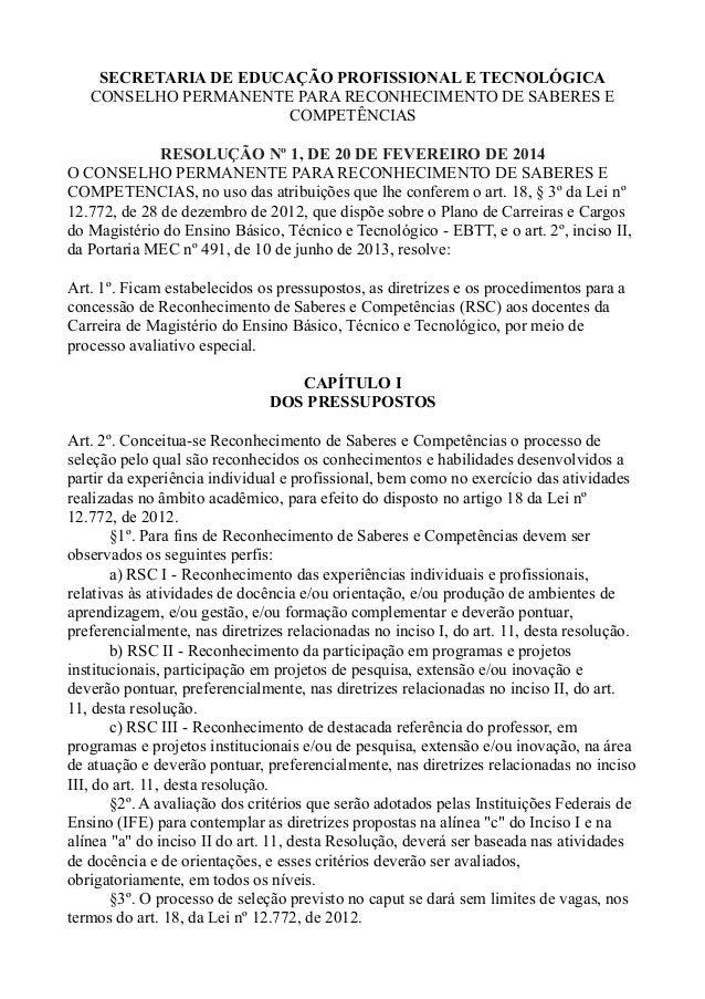 SECRETARIA DE EDUCAÇÃO PROFISSIONAL E TECNOLÓGICA  CONSELHO PERMANENTE PARA RECONHECIMENTO DE SABERES E  COMPETÊNCIAS  RES...