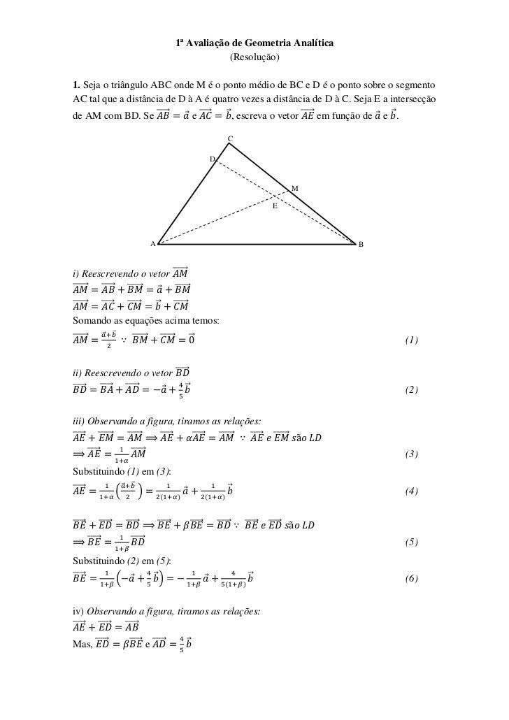 1ª Avaliação de Geometria Analítica                                                                                (Resolu...