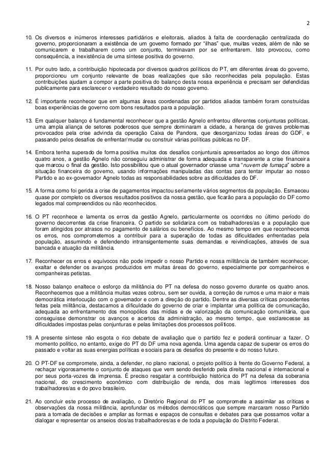 PT-DF divulga resolução política com avaliação das eleições 2014 e do governo Agnelo Slide 2