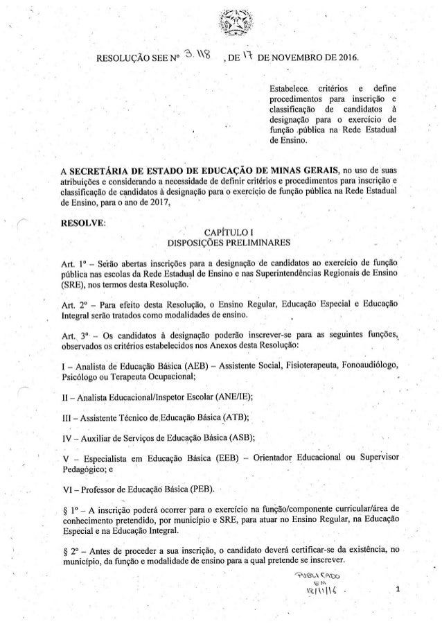 Resolução SEE-MG  3118 2016-estabelece critérios e define procedimentos para inscrição e classificação de candidatos à des...