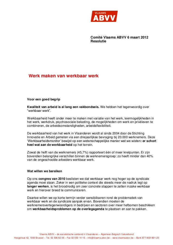 Comité Vlaams ABVV 6 maart 2012                                                                    Resolutie            We...
