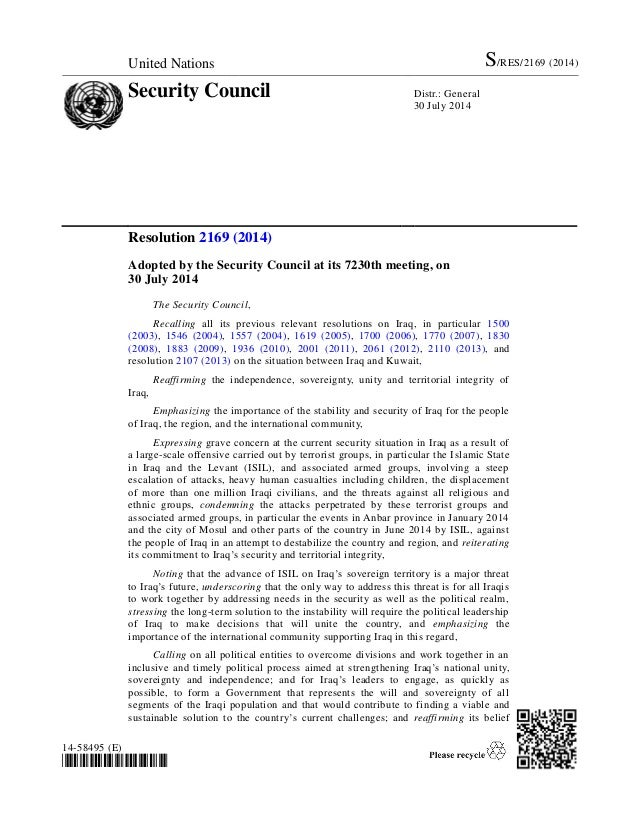 United Nations S/RES/2169 (2014) Security Council Distr.: General 30 July 2014 14-58495 (E) *1458495* Resolution 2169 (201...
