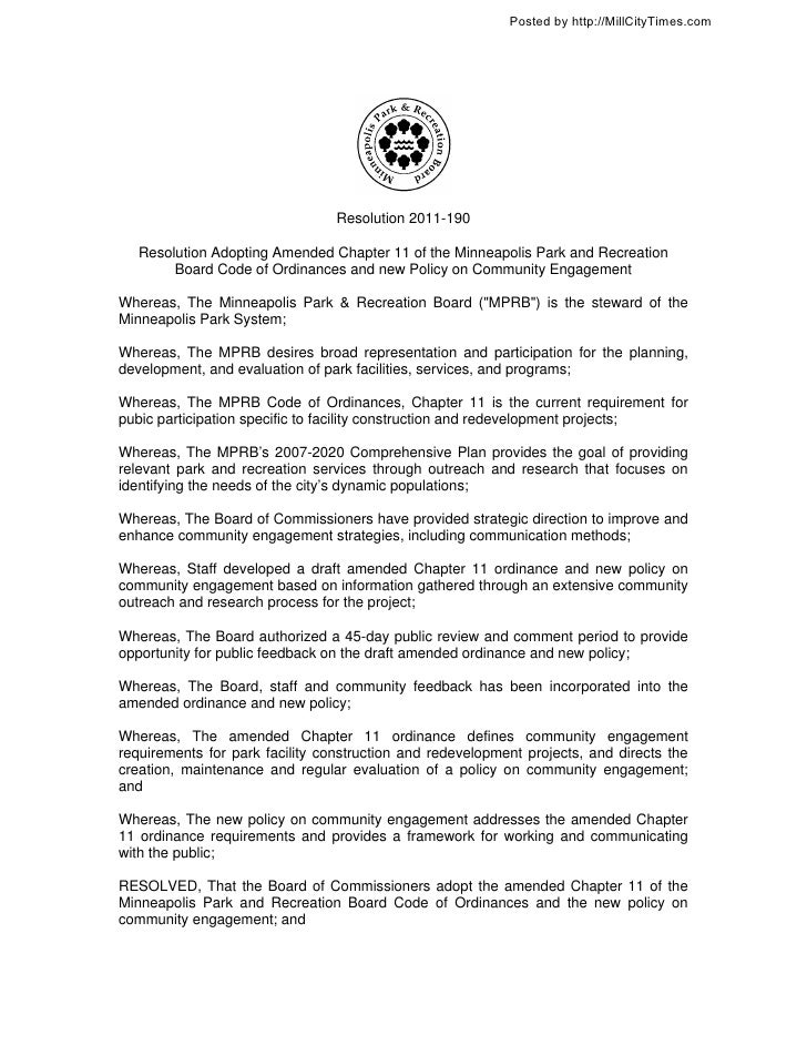 Posted by http://MillCityTimes.com                                 Resolution 2011-190   Resolution Adopting Amended Chapt...