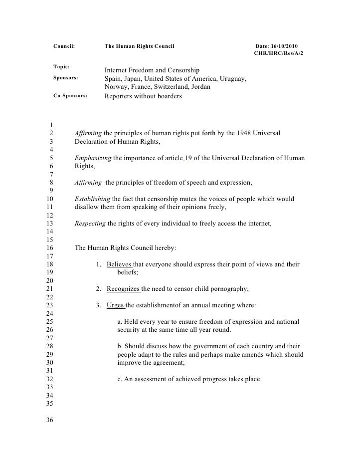 Council:           The Human Rights Council                               Date: 16/10/2010                                ...