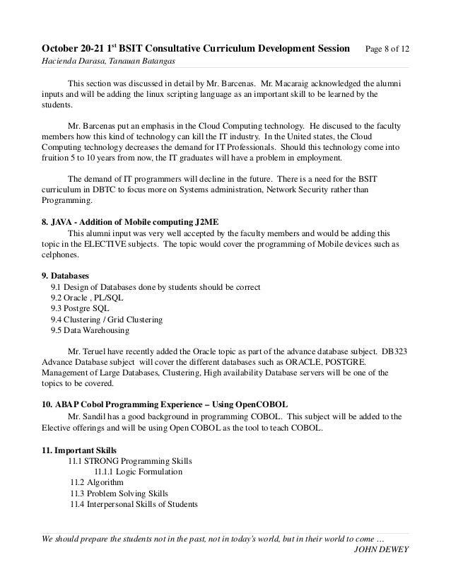 Summative Report: 1st Consultative Curriculum Dev Oct. 20-21