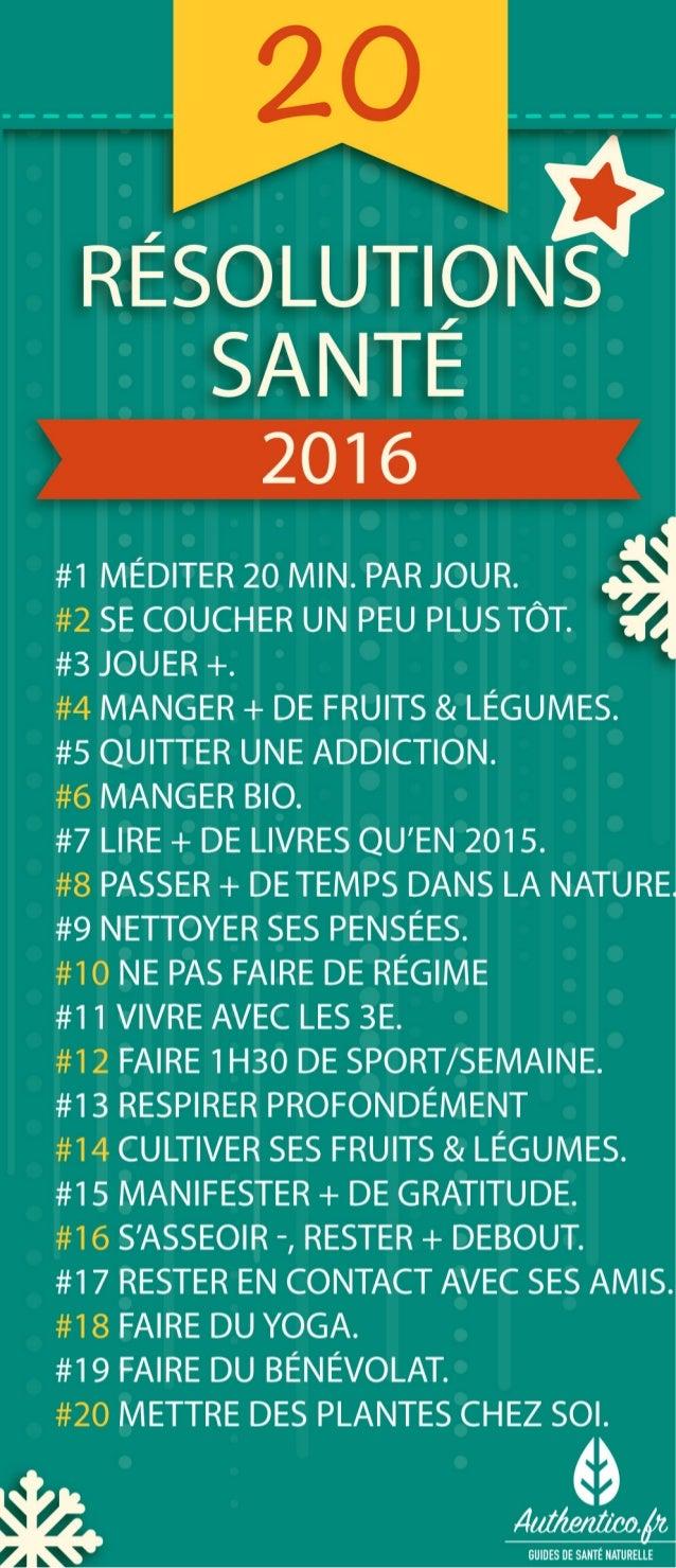 20 Bonnes Résolutions Santé pour 2016