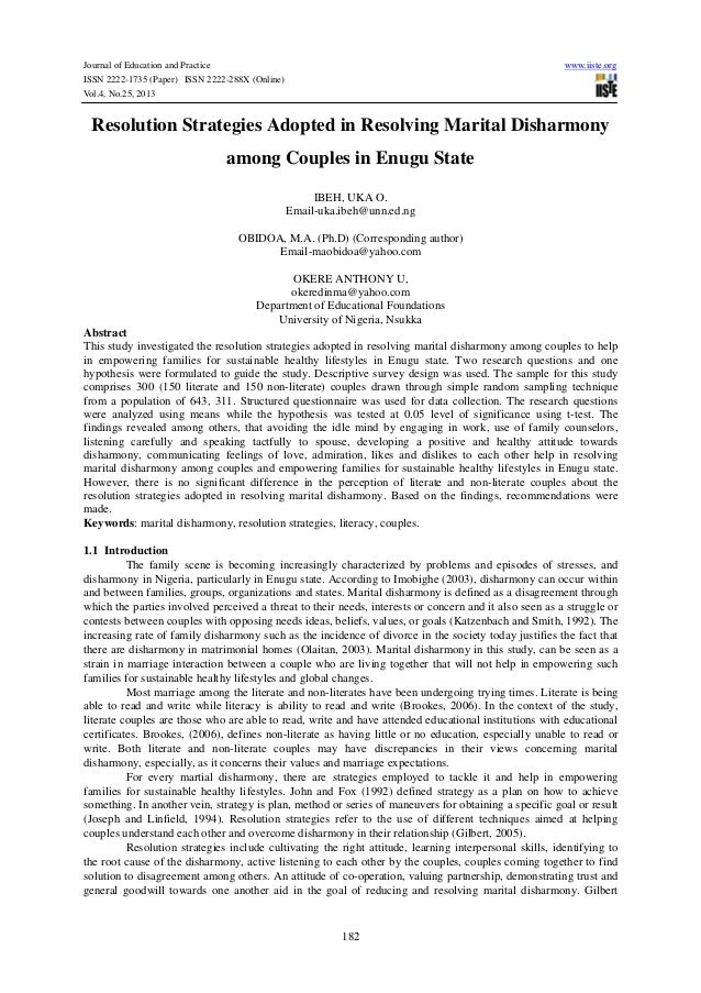 Journal of Education and Practice ISSN 2222-1735 (Paper) ISSN 2222-288X (Online) Vol.4, No.25, 2013  www.iiste.org  Resolu...